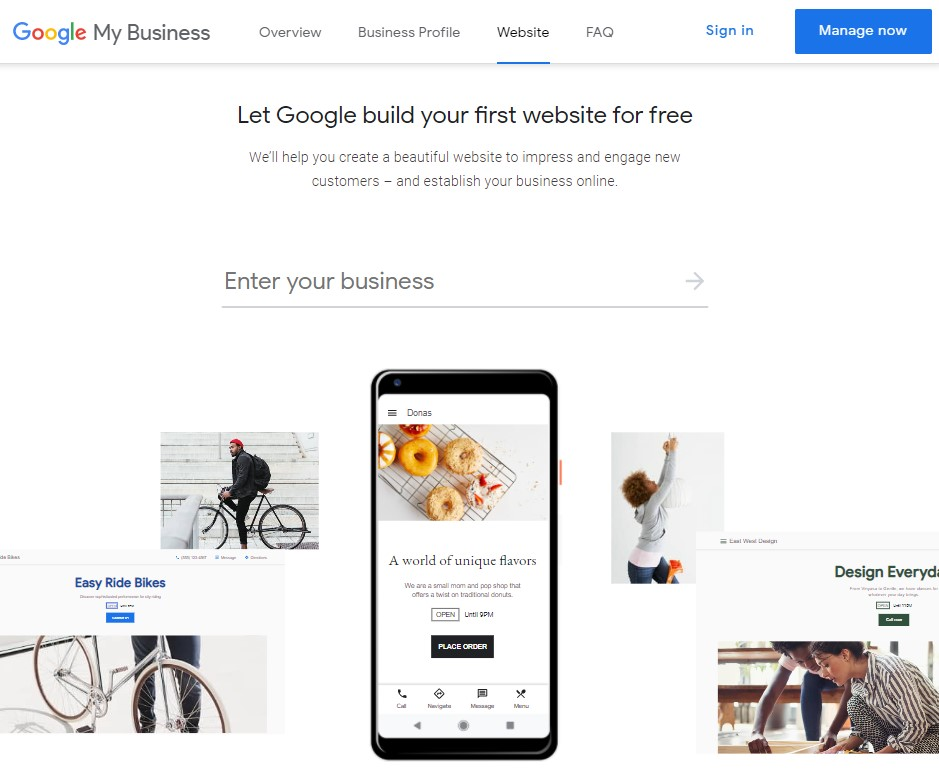 Google My Business - Free Website Builder