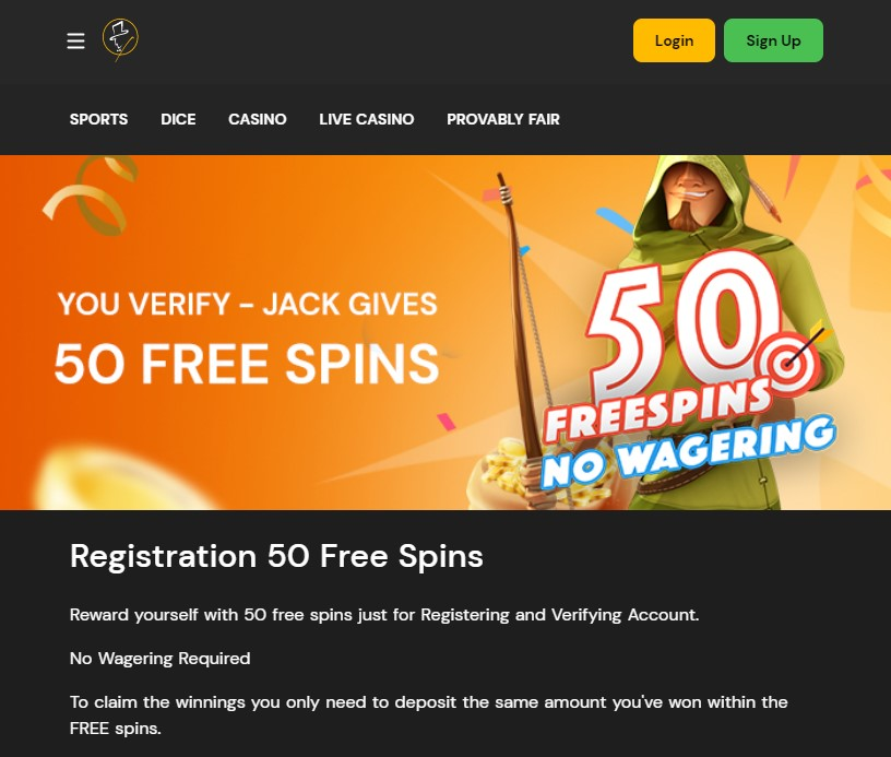 FortuneJack Casino 50 Free Spins