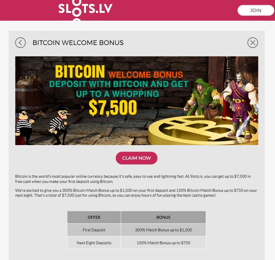 Slots.lv Bitcoin Welcome Bonus