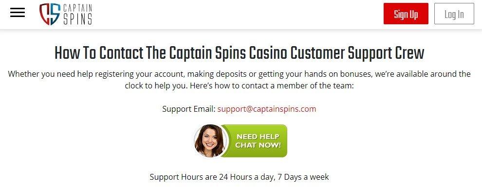 Captain Spins Casino Customer Support